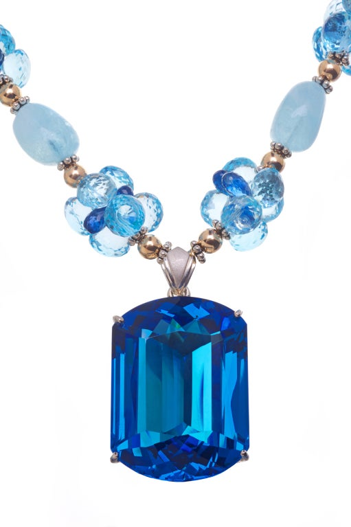187 Carat Blue Topaz Pendant, Aquamarine, Blue Topaz, Kyanite with 14K Gold Balls and Sterling Silver