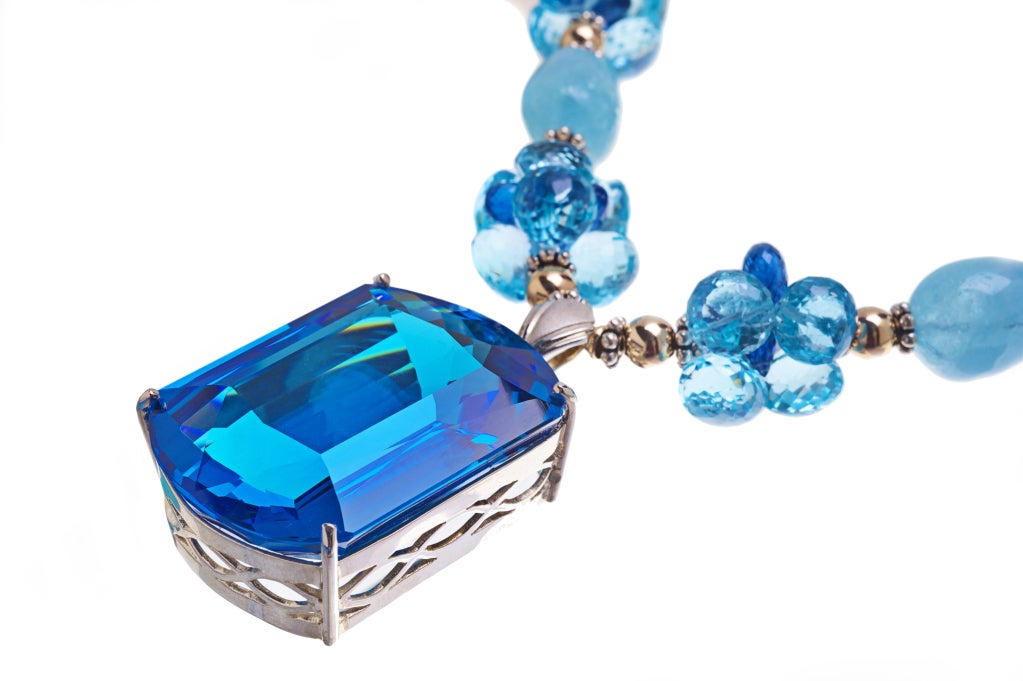 Modern Deborah Liebman 187 Carat Topaz Pendant Necklace Aquamarine Kyanite Gold Silver  For Sale