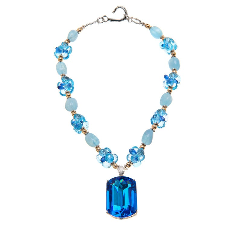 Deborah Liebman 187 Carat Topaz Pendant Necklace Aquamarine Kyanite Gold Silver  For Sale