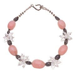 Pink and Clear Crystal Quartz Necklace