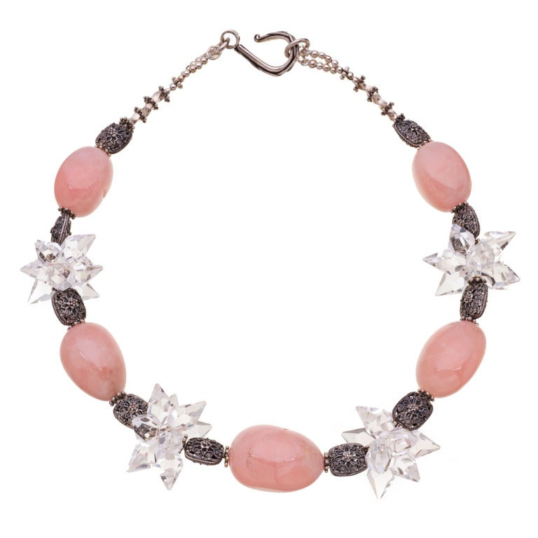 Deborah Liebman Pink and Clear Crystal Quartz Necklace