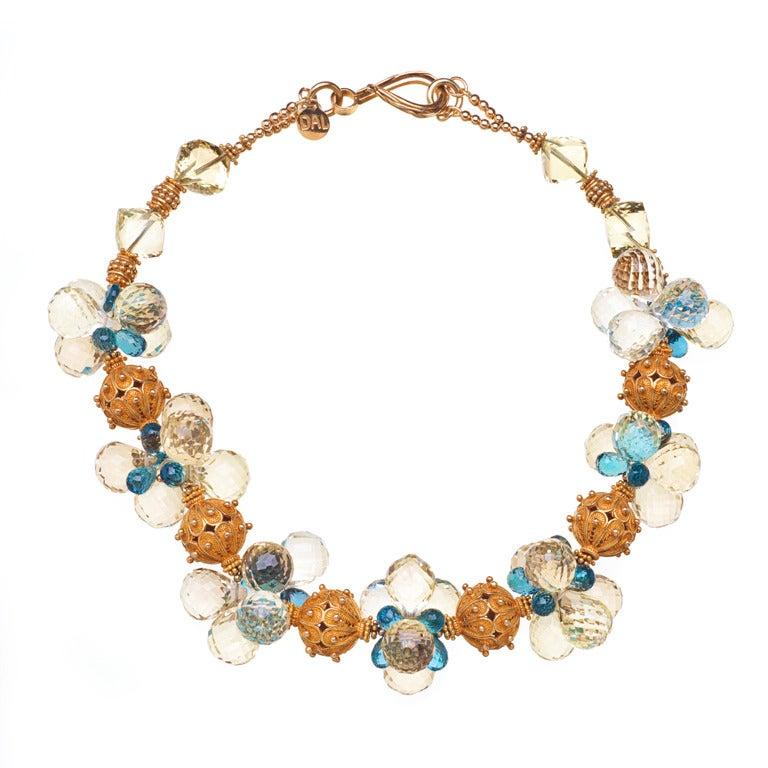 Deborah Liebman Lemon Quartz London Blue Topaz Gold Vermeil Necklace