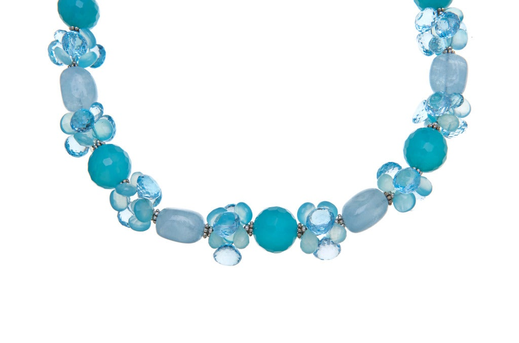 Deborah Liebman Aquamarine, Sea Blue Chalcedony and Swiss Blue Topaz Necklace with Sterling Silver