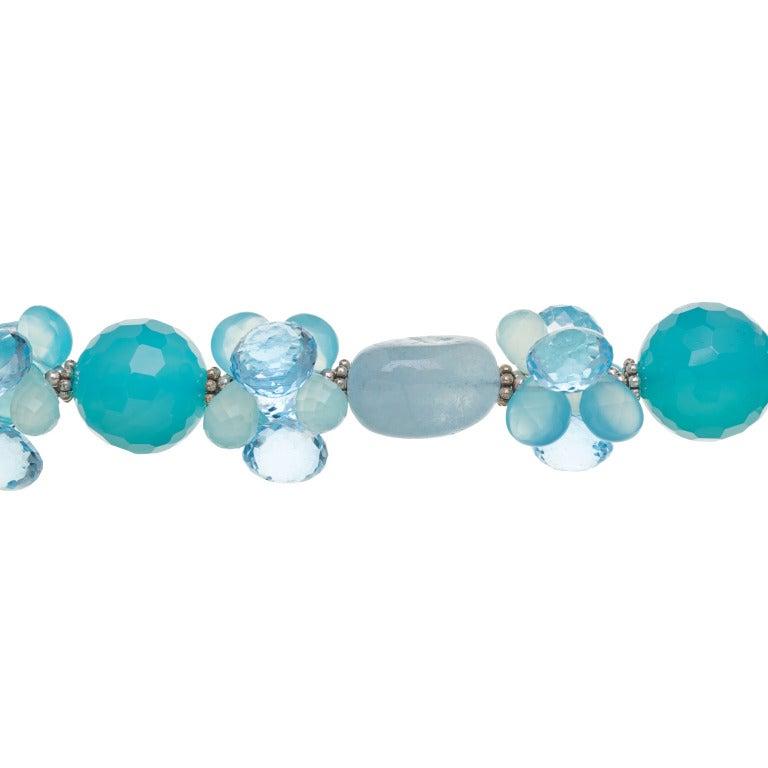 Modern Deborah Liebman Sea Blue Chalcedony Aquamarine Swiss Blue Topaz Silver Necklace For Sale