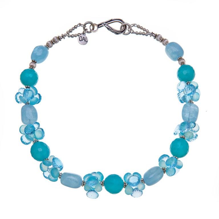 Deborah Liebman Sea Blue Chalcedony Aquamarine Swiss Blue Topaz Silver Necklace For Sale