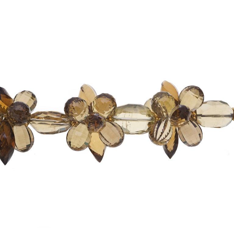 Modern Deborah Liebman Lemon Quartz Pendant Citrine Lemon Smoky Quartz Gold Necklace For Sale