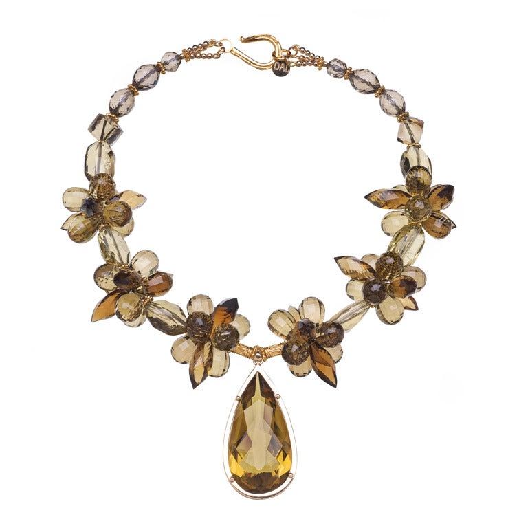 Deborah Liebman Lemon Quartz Pendant Citrine Lemon Smoky Quartz Gold Necklace