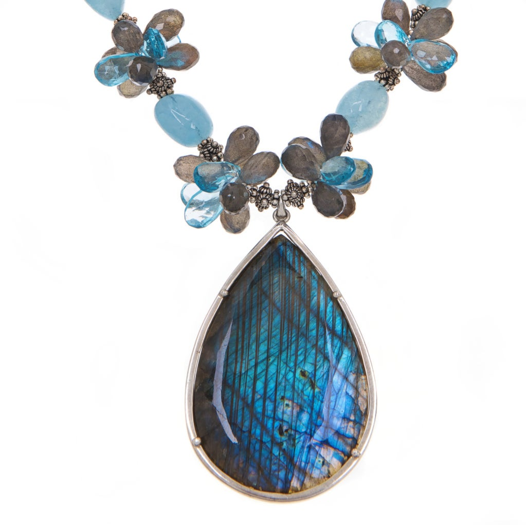 Labradorite Pendant, Aquamarine, Labradorite and Swiss Blue Topaz with Sterling Silver