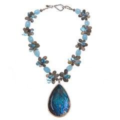 Deborah Liebman Labradorite Aquamarine Blue Topaz Labradorite Sterling Pendant