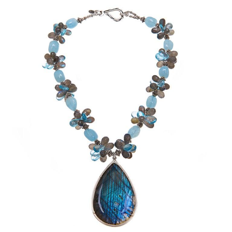 Deborah Liebman Labradorite Aquamarine Blue Topaz Labradorite Sterling Pendant For Sale