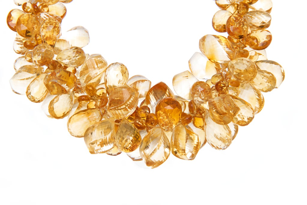Orange Citrine Ruisseau des Briolettes in 14K Gold (10.5 to 17 inch adjustable length)