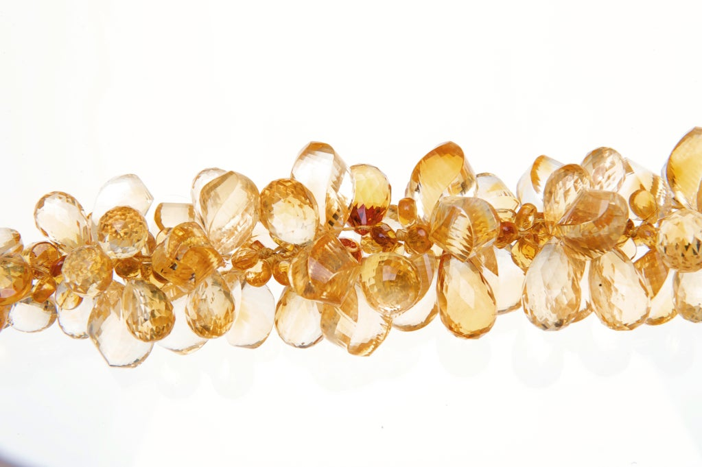 Modern Deborah Liebman Orange Citrine Ruisseau des Briolettes Necklace in Yellow Gold For Sale