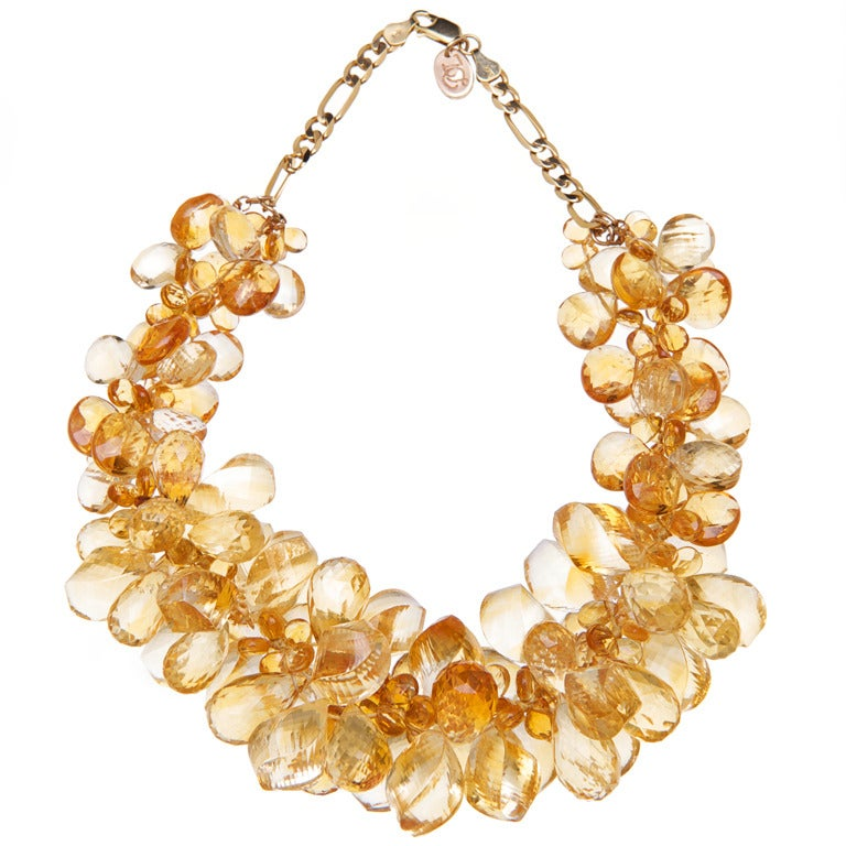 Deborah Liebman Orange Citrine Ruisseau des Briolettes Necklace in Yellow Gold For Sale