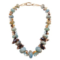 Deborah Liebman Aquamarine Citrine Lemon and Smoky Quartz Gold Vermeil Necklace