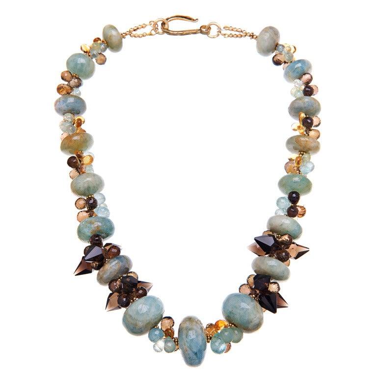 Deborah Liebman Aquamarine Citrine Lemon and Smoky Quartz Gold Vermeil Necklace For Sale
