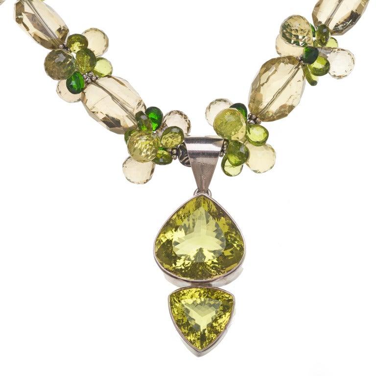 Golden Green Citrine Pendant Peridot Lemon Quartz Chrome Diopside Sterling Silver Necklace