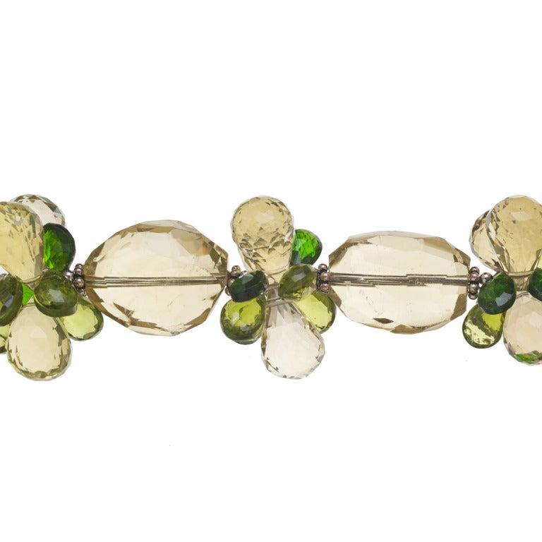 Modern Deborah Liebman Golden Green Citrine Pendant Peridot Lemon Quartz Silver For Sale