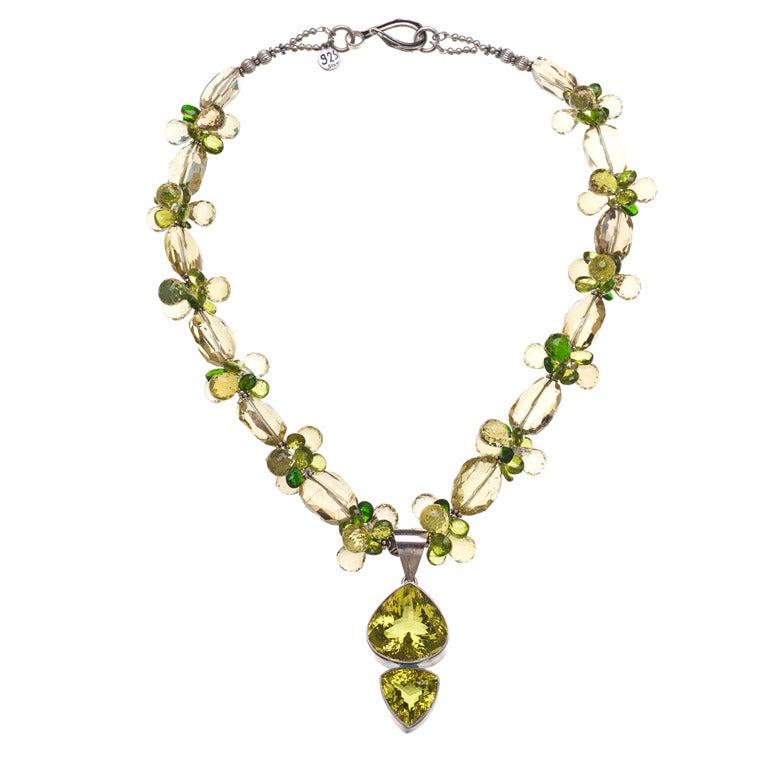 Golden Green Citrine Pendant Peridot Lemon Quartz Chrome