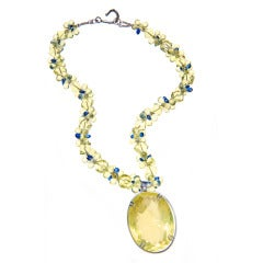 Deborah Liebman Lemon Citrine Pendant Necklace Lemon Quartz and Blue Kyanite
