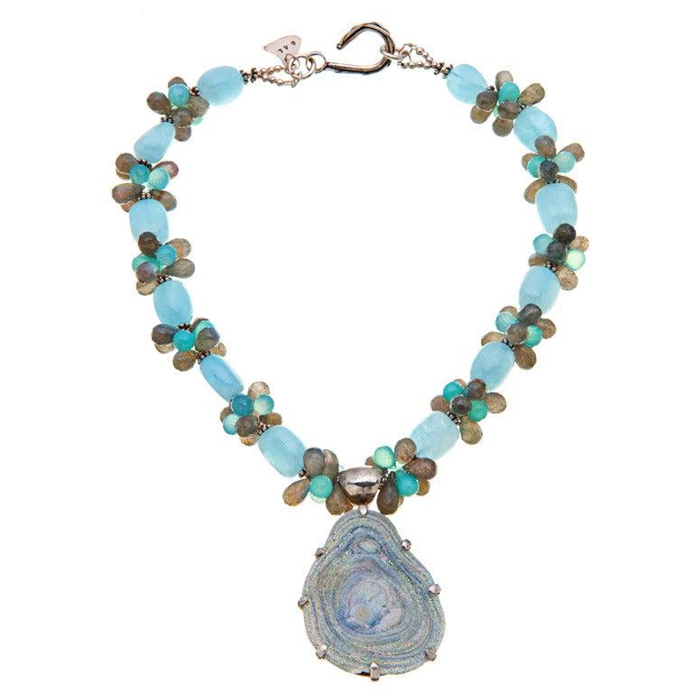 silver blue druzy chalcedony pendant aquamarine sea blue