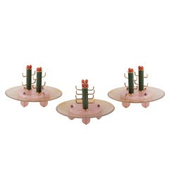 OSTERTAG Three Quartz Lacquer and Coral Ash Trays