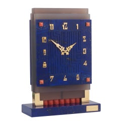 BOUCHERON. An Important Art Deco Lapis and Coral Desk Clock