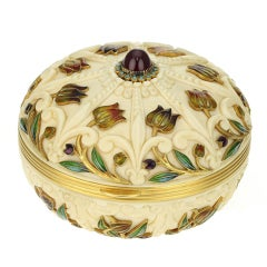BOUCHERON. Rare Belle Epoque Enamel Ivory Powder Box