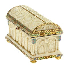 BOUCHERON. Rare Belle Epoque Enamel and Ivory Stamp Box.
