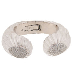 DAVID WEBB Diamond Carved Rock Crystal Bangle