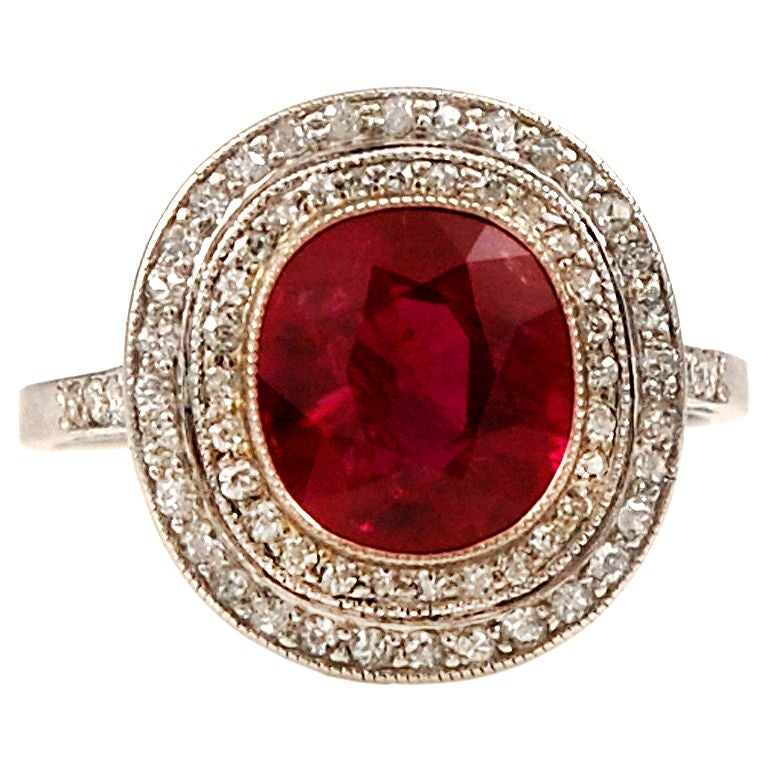 Burma Ruby Edwardian Diamond Ring At 1stdibs