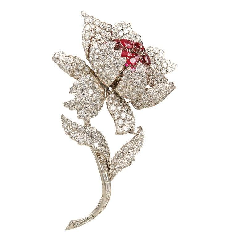 Harry Winston Ruby Diamond Flower Pin At 1stdibs