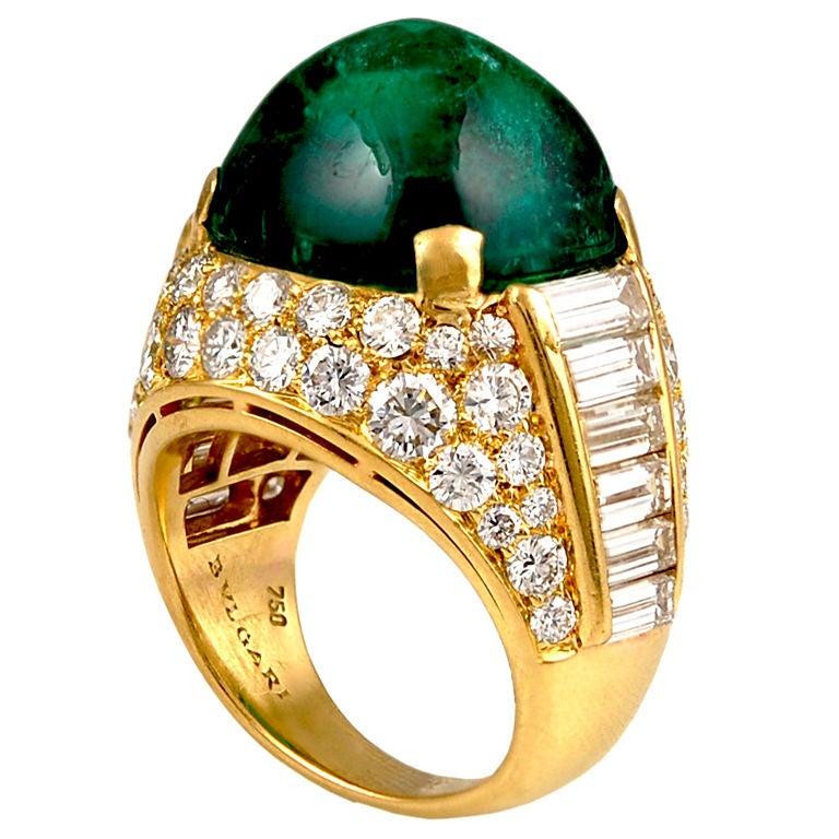 bulgari cabochon emerald ring at 1stdibs