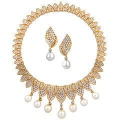 FRED PARIS Magnificent Diamond Pearl Necklace & Earrings