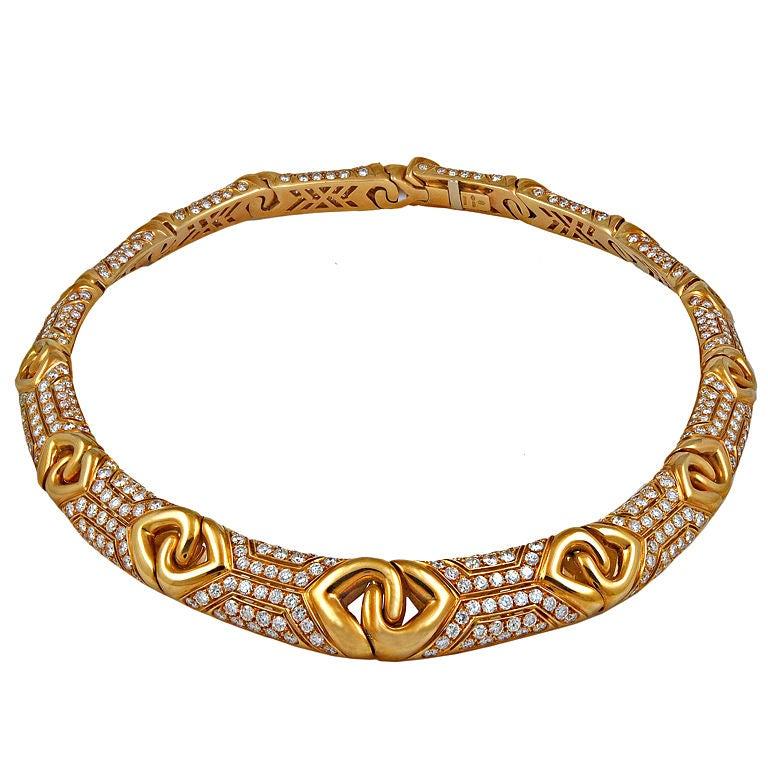 Bulgari Diamond Gold Necklace