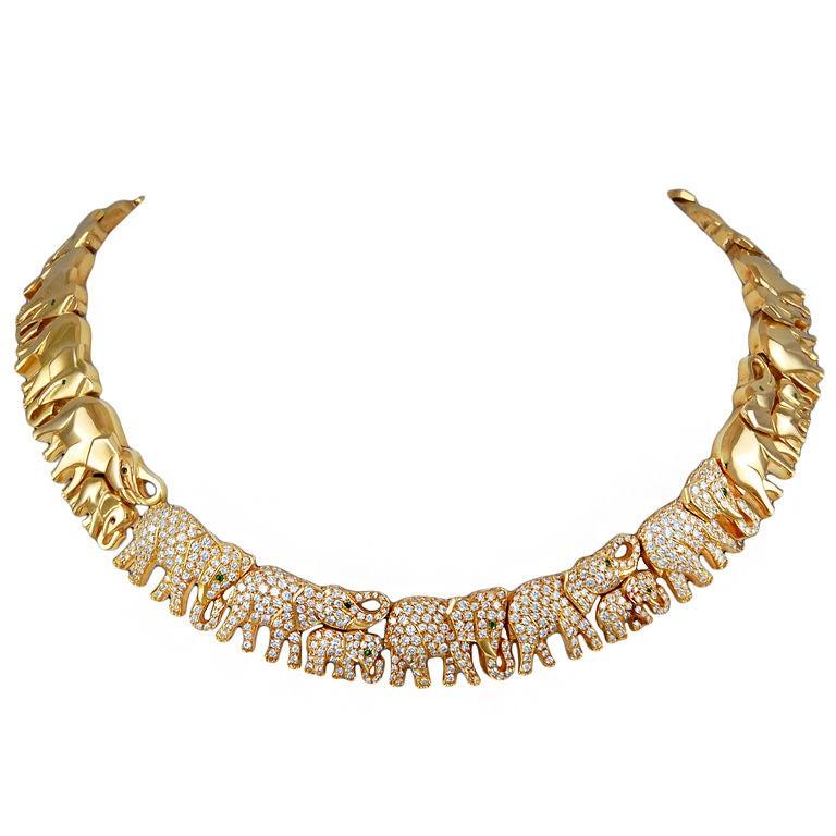 Cartier Diamond Elephant Necklace