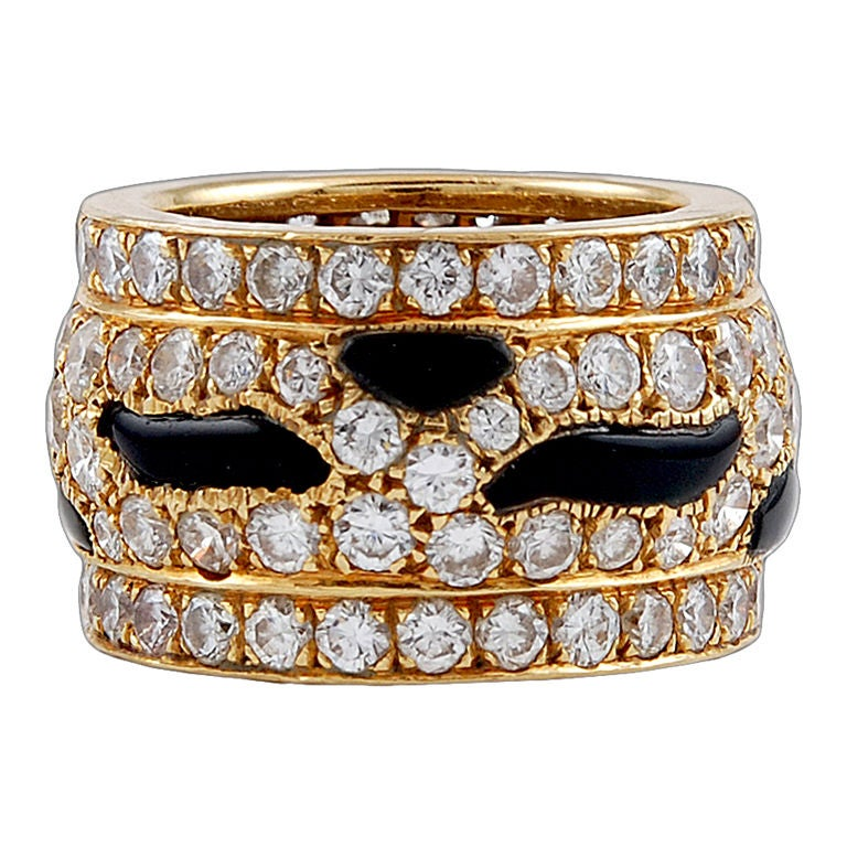 CARTIER Diamond Onyx Panther Wedding Band At 1stdibs