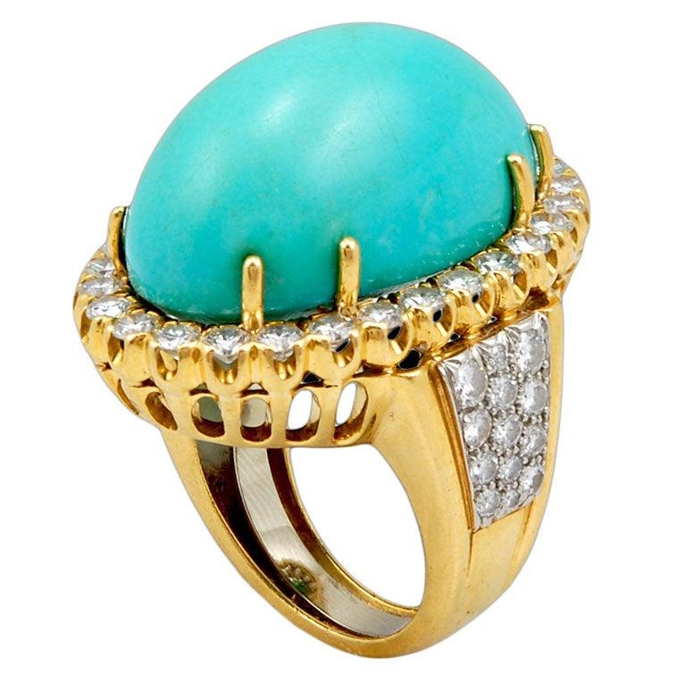 DAVID WEBB Diamond Turquoise Ring At 1stdibs