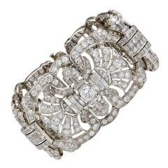 Art Deco Diamond Fan Motif Wide Bracelet