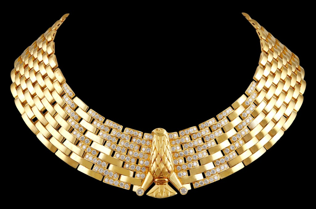 Cartier Gold Diamond Eagle Necklace For Sale at 1stdibs  Cartier Gold Di...