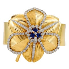 Cartier Diamond Sapphire Gold Flower Pin and Bangle