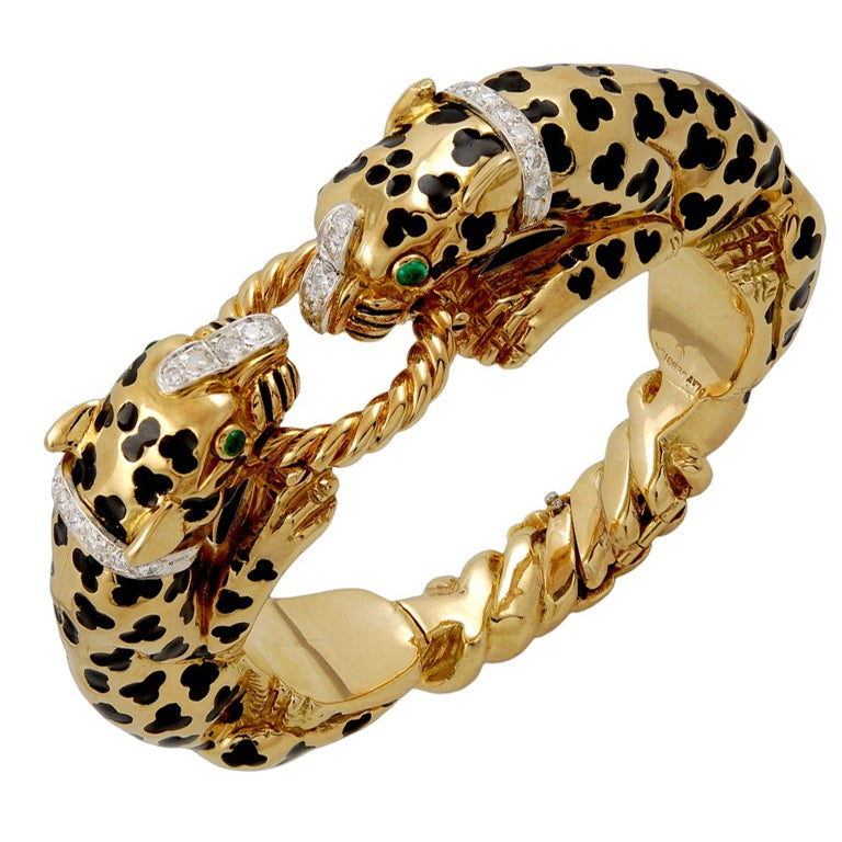 David Webb Diamond And Cabochon Emerald Leopard Bracelet