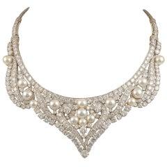 DAVID WEBB Multi-Colored Pearl and Diamond Necklace