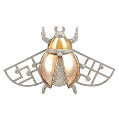 CARTIER Diamond and Honey Quartz 'Scarab' Brooch