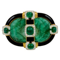 David Webb Carved Emerald Brooch