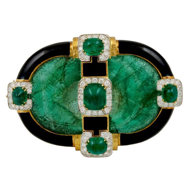 David Webb Carved Emerald Brooch