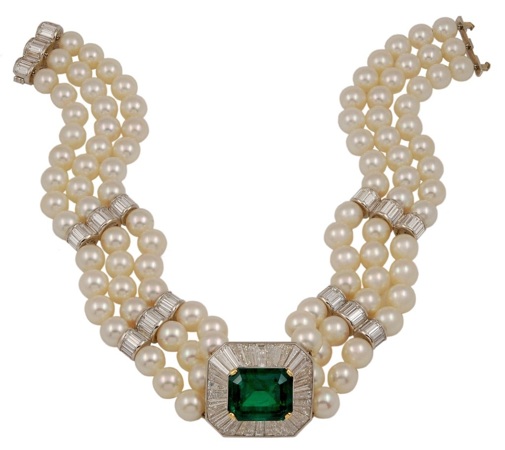Harry Winston Two Tone Diamond Emerald And Pearl Necklace