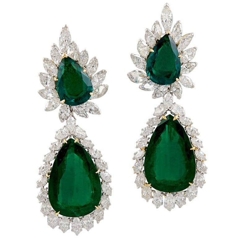 Harry Winston Pear Shape Emerald Diamond Earrings At 1stdibs