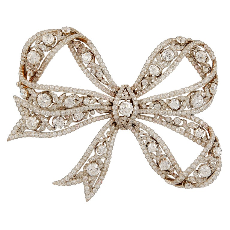 Edwardian Diamond Bow Brooch
