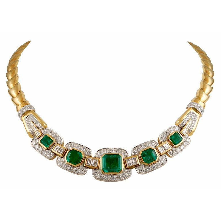 DAVID WEBB Two Tone Emerald & Diamond Necklace