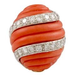 David Webb Diamond & Coral Ring